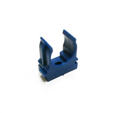 Крепеж-клипса для труб и гофры ПРОМРУКАВ 20 мм (синяя)
