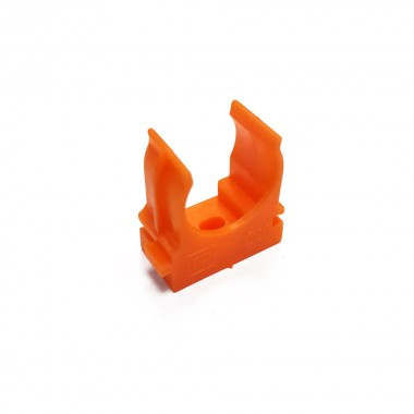 Крепеж-клипса для труб и гофры ПРОМРУКАВ 20 мм (оранжевая)