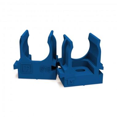 Крепеж-клипса для труб и гофры ПРОМРУКАВ 16 мм (синяя)